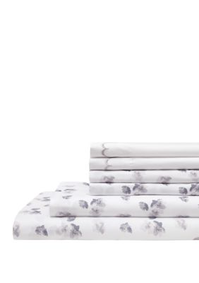 Elite Home Products Spring Meadow Embroidered Sheet Set With Bonus Pillowcases