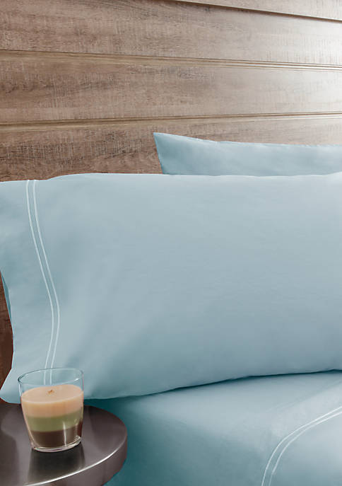 Elite Home Products Washed Percale Twin Sheet Set