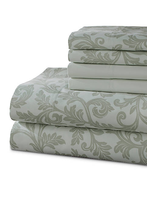 Elite Home Products Kendall 6-Piece Printed California King