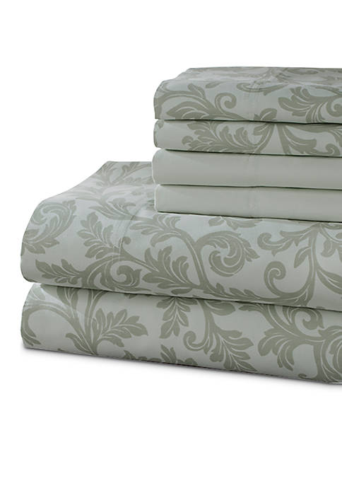 Elite Home Products Kendall 6-Piece Printed King Sheet