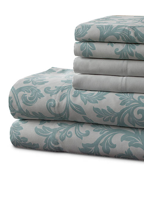 Elite Home Products Kendall Printed 6-Piece Queen Sheet