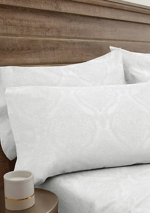 Elite Home Products Jacquard Damask Bonus Queen Sheet