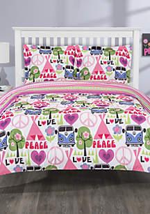Hippie Love Reverse Mini Comforter Set- Queen