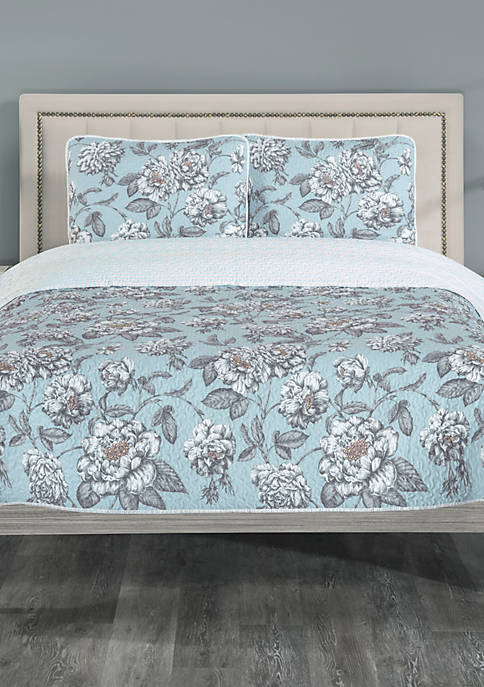Elite Home Products Annabelle Reverse Queen Quilt Set