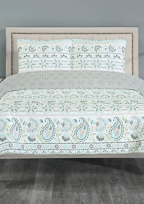 Elite Home Products Zoe Reverse Twin Quilt Set