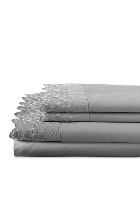Elite Home Products Home Lace Microfiber 4-Piece Sheet