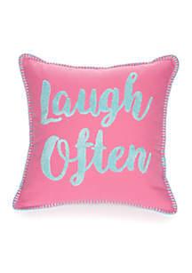 Amelia Laugh Often Decorative Pillow