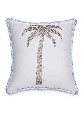 Calming Palm Embroidered Decorative Pillow