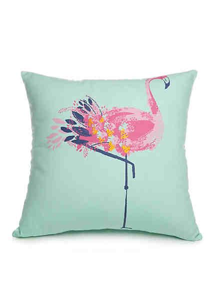 Crown ivy flora flamingo icon decorative pillow