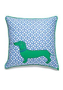 Tania Dog Crewel Throw Pillow