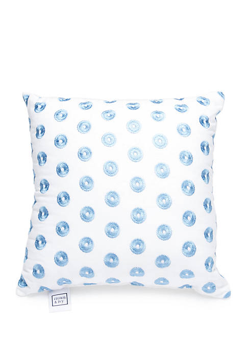 Crown & Ivy™ Reece Embroidered Dot Throw Pillow