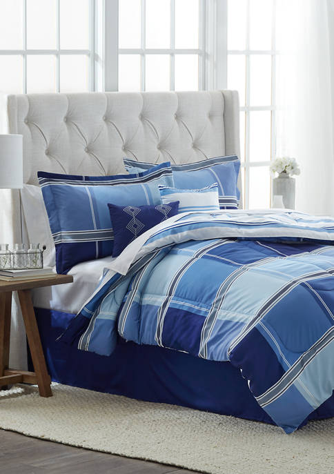 Modern Southern Home Marcail 6-Piece Reversible Comforter Set (Blue)