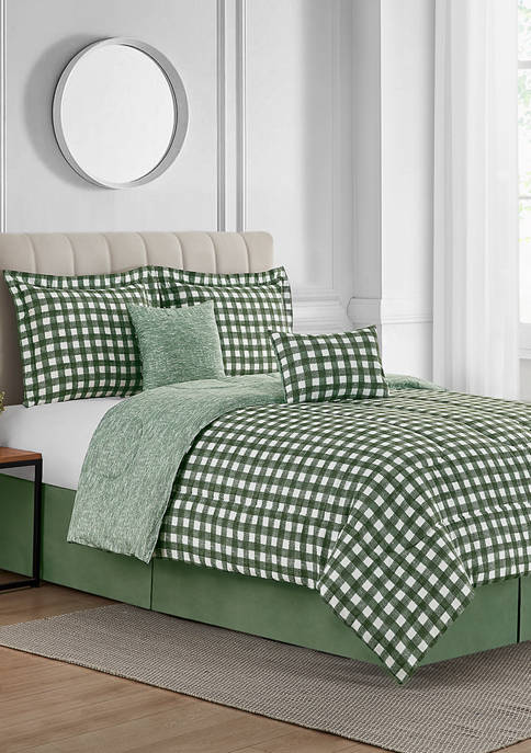Textured Gingham 6-Piece Bed-In-A-Bag Reversible Comforter Set