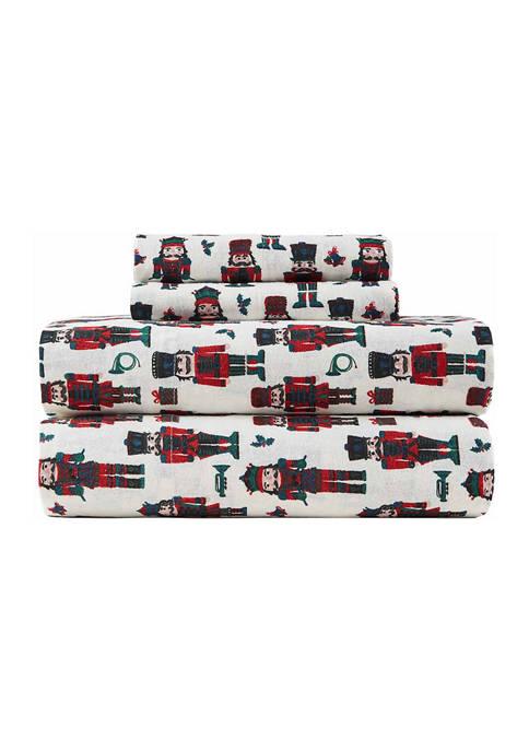 Flannel Sheet Set- Nutcrackers