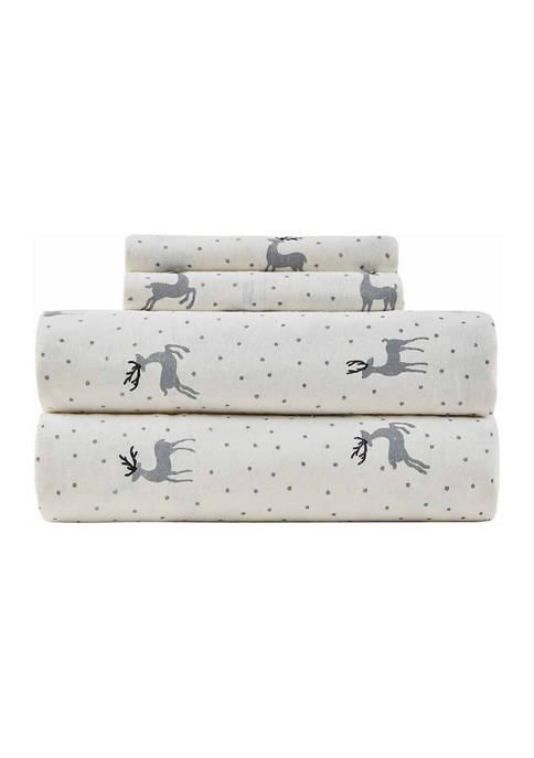Deer Flannel Sheet Set