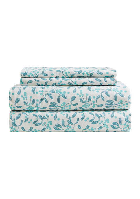 Modern. Southern. Home.™ Flannel Dancing Holly Sheet Set