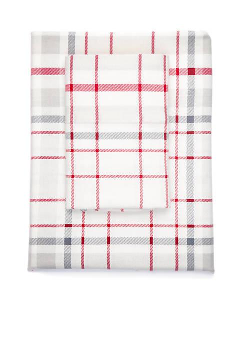 Plaid Flannel Cotton Sheet Set