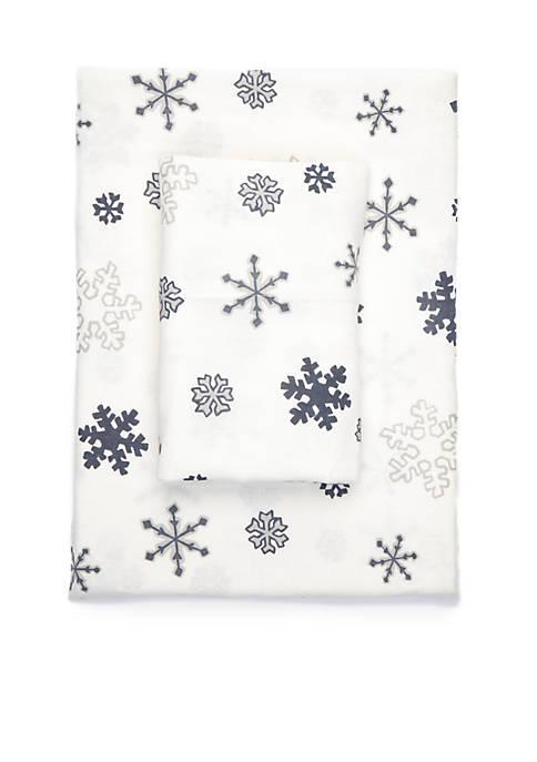 Snowflake Flannel Cotton Sheet Set