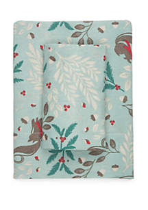 Mistletoe Squirrel Flannel Cotton Sheet Set