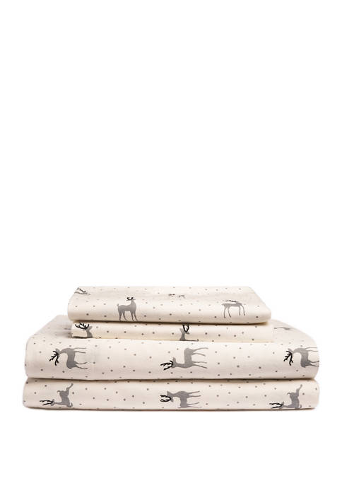 Dotty Deer Flannel Sheet Set