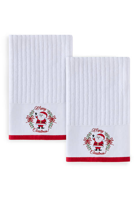 2 Pack Merry Christmas Snowman Hand Towels