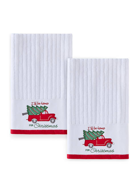 Set of 2 Ill Be Home for Christmas Hand Towels