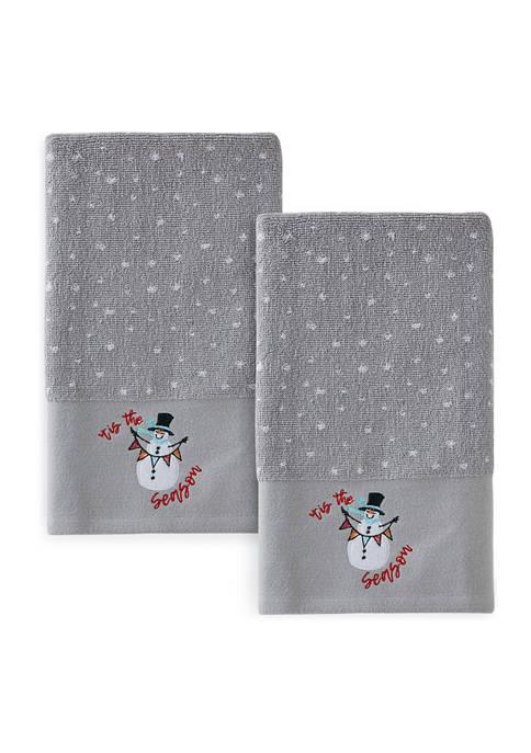 Set of 2 Snowman Hand Towels