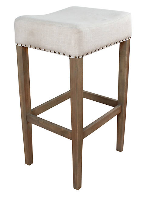 Haven Home Décor White Fabric Stool