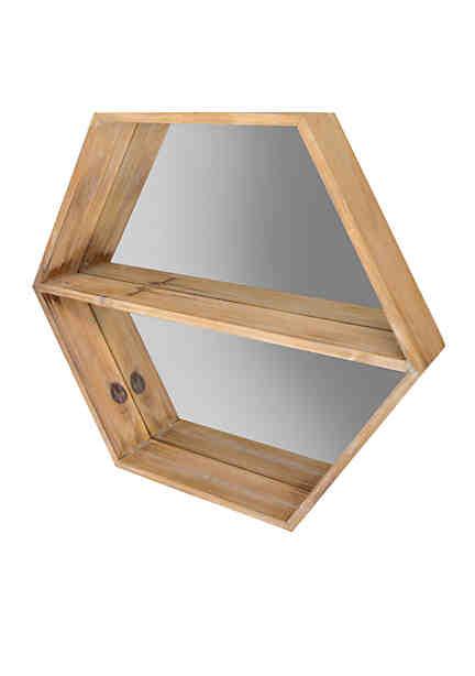 Haven Home Décor Hexagon Mirror With Shelf
