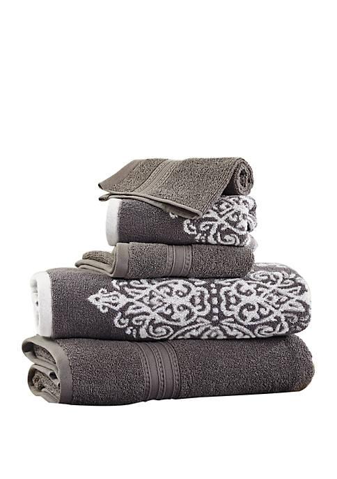 6 Piece Reversible Yarn Dyed Jacquard Towel Set