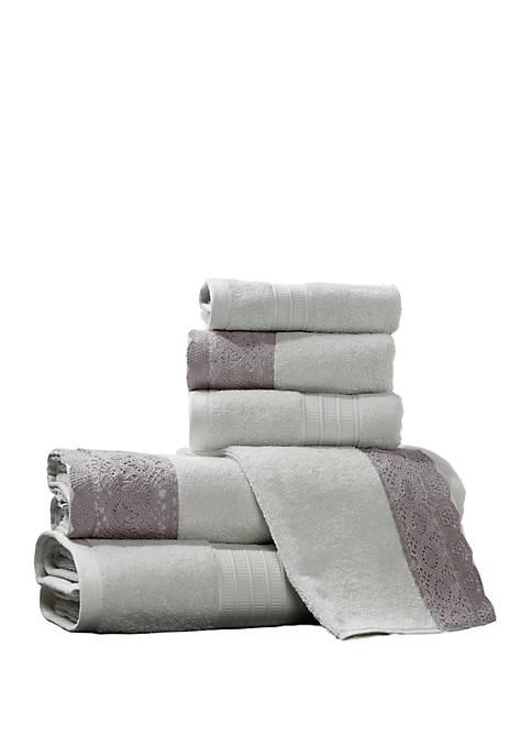 6 Piece Towel Set with Lace Hem