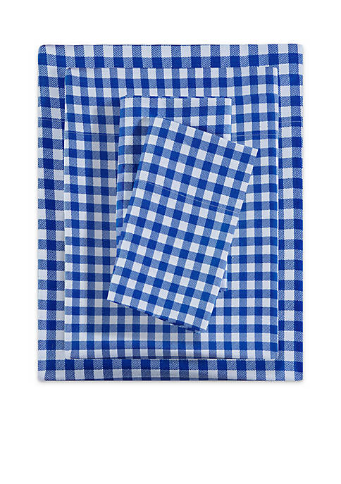 Lightning Bug Blue Gingham Microfiber Printed Sheet Set