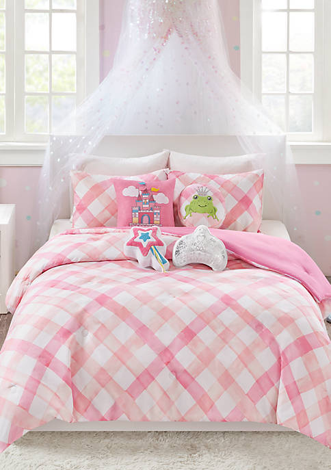 Lightning Bug Gingham Comforter Set