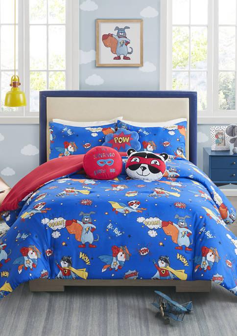 Lightning Bug Superhero Boy Comforter Set