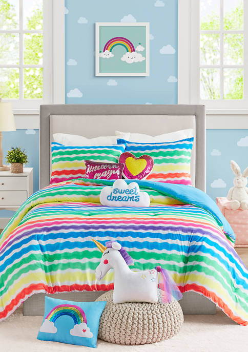 Lightning Bug Rainbow Stripe Comforter Set