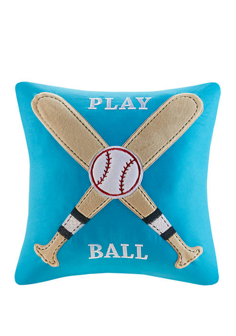 16 in x 16 in Play Ball Throw Pillow