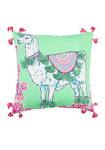 Llama Unicorn Throw Pillow