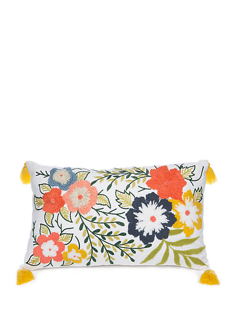 Floral Embroidered Oblong Cushion