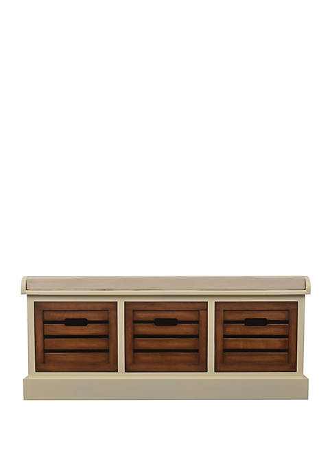Décor Therapy Melody Three Drawer Bench with Cushion