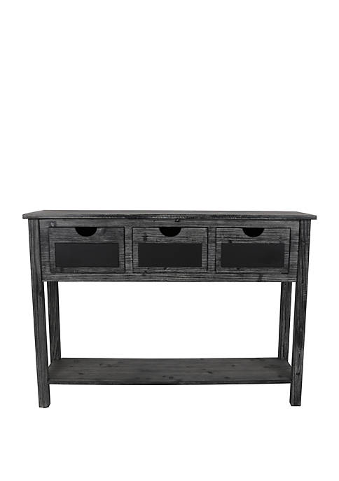 Rowan 3 Drawer Weathered Chalkboard Console Table