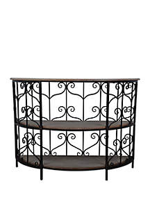 Décor Therapy Scroll Console Table with Shelves