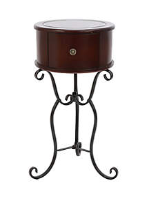 Décor Therapy Wilson One Drawer Wood and Metal Round Side Table
