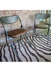 Set of 2 Vintage Wood Seat Folding Chairs
