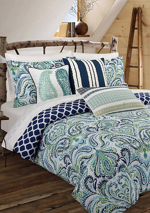 Nouvelle Home Painterly Paisley Blue Comforter Set