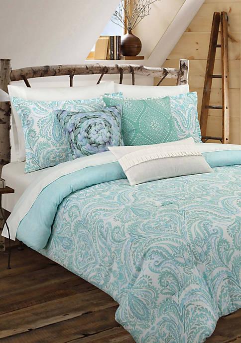 Nouvelle Home Painterly Paisley White Comforter Set