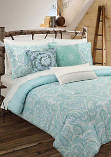 Painterly Paisley White Comforter Set