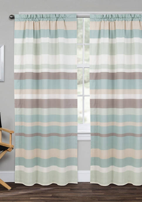 Coastal Stripe Window Panel Pair