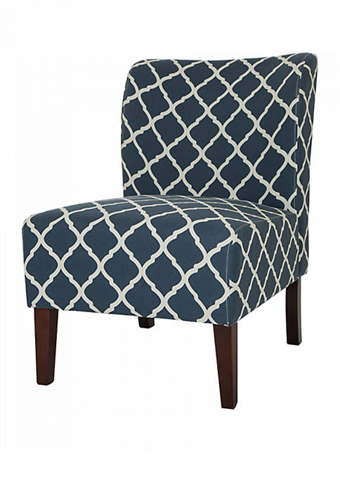 Glitz Home Indigo Lattice Upholstered Accent Chair