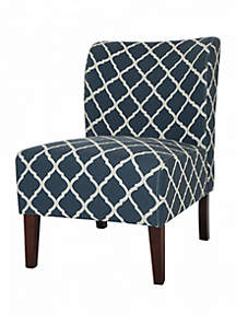 Indigo Lattice Upholstered Accent Chair