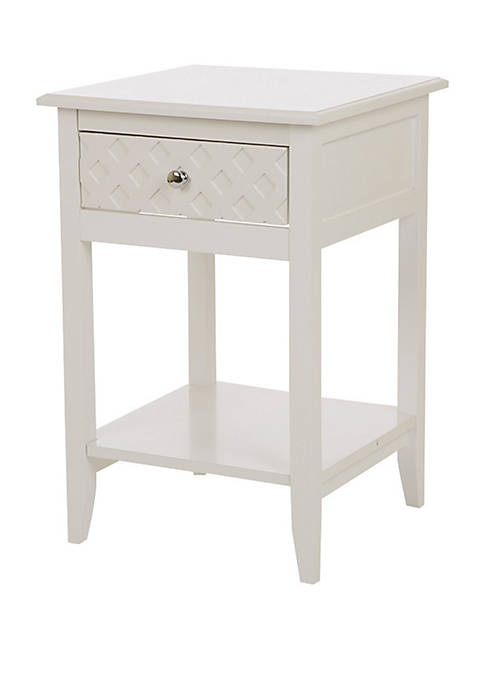 Glitz Home Square-Frame White Wooden End Table With